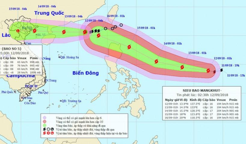 Tin Bão Khẩn: Bão số 5 sẽ ảnh hưởng đến các tỉnh Quảng Ninh - Nam Định