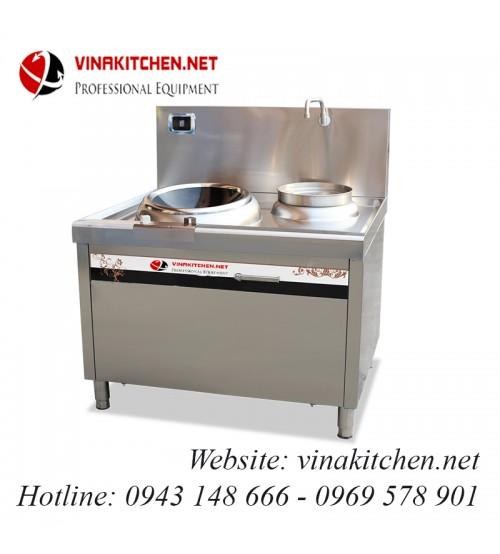 Bếp từ công nghiệp mặt lõm và bếp hầm có vòi rửa 12KW HZD-12KW-LCH