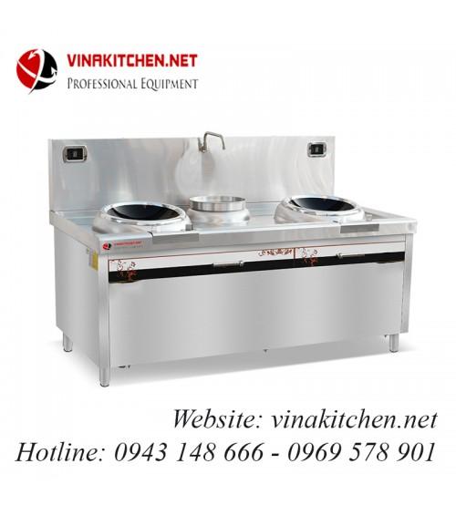Bếp từ công nghiệp 2 mặt lõm và bếp hầm có vòi rửa 12KW HZD-2x12KW-400ACS