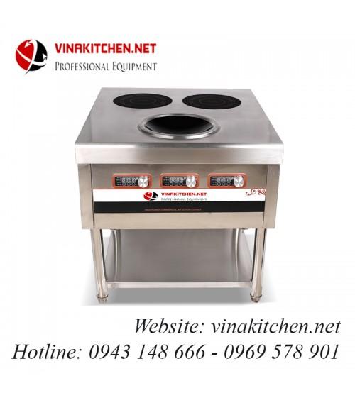 Bếp từ công nghiệp lớn 2 mặt phẳng 1 mặt lõm 3.5KW HZD-3.5KW-RXS