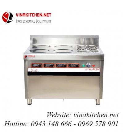 Bếp từ công nghiệp kết hợp bếp hấp 3.5KW HZD-3.5KWX4L-BW
