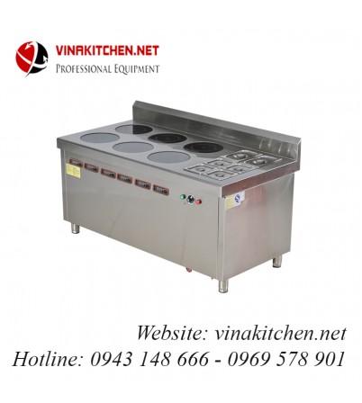 Bếp từ công nghiệp lớn kết hợp bếp hấp có hẹn giờ 3.5KW HZD-3.5KWX6-6L-BW