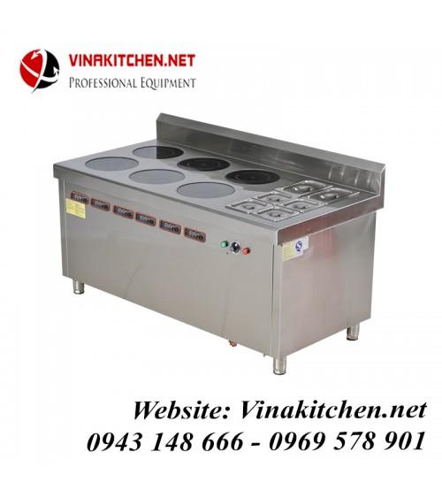 Bếp từ công nghiệp lớn kết hợp bếp hấp có hẹn giờ 3KW HZD-3KWX6-6L-BW