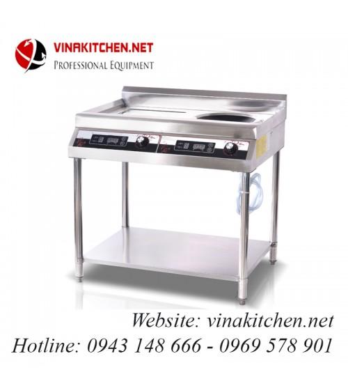 Bếp từ công nghiệp 1 mặt lõm 1 mặt phẳng có giá kệ có hẹn giờ 5KW HZD-5KW-2APXSLS