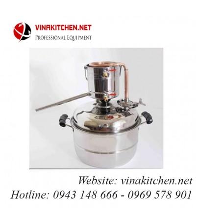 Nồi nấu rượu nồi chưng cất tinh dầu inox dùng gas, than, củi, bếp từ 30 lít NRN-30