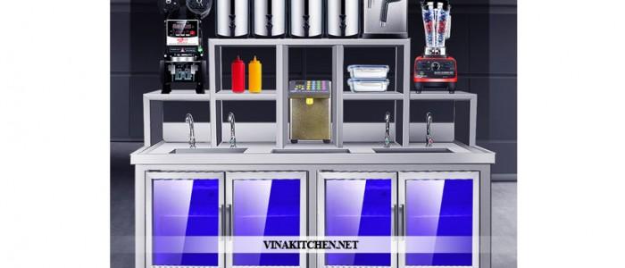 Quầy Bar Inox Pha Chế Trà Sữa - Cafe